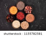 various superfoods in small... | Shutterstock . vector #1155782581
