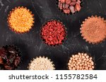 various superfoods in small... | Shutterstock . vector #1155782584