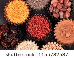 various superfoods in small... | Shutterstock . vector #1155782587