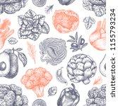 fresh green vegetables seamless ...   Shutterstock .eps vector #1155793234