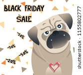 little pug sale card. cute pet. ... | Shutterstock . vector #1155802777