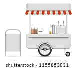 realistic food cart vector... | Shutterstock .eps vector #1155853831