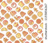 bakery seamless pattern with... | Shutterstock .eps vector #1155856267