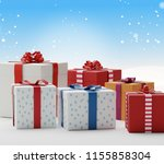 christmas gifts presents boxes... | Shutterstock . vector #1155858304