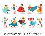 boys in superhero costume set ... | Shutterstock .eps vector #1155879847