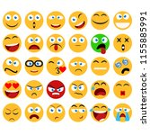 large set of smiles  emoticons... | Shutterstock . vector #1155885991