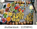 mixed fruits on ground   vietnam | Shutterstock . vector #11558941