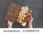 top view of variety of uncooked ...   Shutterstock . vector #1155896791