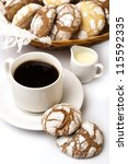 cup of black coffee with biscuits - stock photo