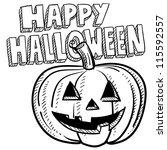 doodle style happy halloween... | Shutterstock .eps vector #115592557