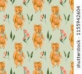 seamless pattern with hand... | Shutterstock . vector #1155942604