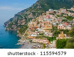 beautiful positano city on...   Shutterstock . vector #115594579
