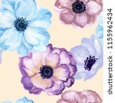 watercolor gouache anemone... | Shutterstock . vector #1155962434