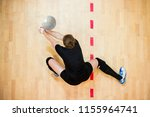 upper view of female volleyball ... | Shutterstock . vector #1155964741