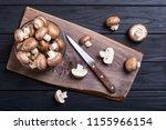fresh raw royal champignon ....   Shutterstock . vector #1155966154