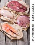 mix of steak meat   salmon  ...   Shutterstock . vector #1155966661