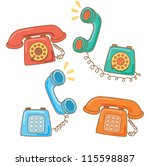 set of vintage telephone | Shutterstock .eps vector #115598887