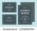set wedding invitations... | Shutterstock .eps vector #1156002334