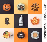 halloween holiday concept with... | Shutterstock . vector #1156012984