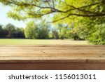 empty wooden table over autumn... | Shutterstock . vector #1156013011