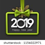 grey shiny 2019 happy new year... | Shutterstock .eps vector #1156022971