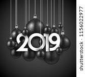 black 2019 new year background... | Shutterstock .eps vector #1156022977