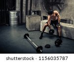 athlete training in a gym  ... | Shutterstock . vector #1156035787