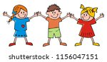 happy kids  two girls and boy ... | Shutterstock .eps vector #1156047151