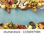 frame of various wine snacks ... | Shutterstock . vector #1156047484