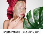 charming girl with a red towel... | Shutterstock . vector #1156049104