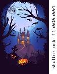 happy halloween night poster... | Shutterstock .eps vector #1156065664