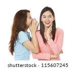 young women sharing a secret ...   Shutterstock . vector #115607245