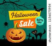 happy halloween sale... | Shutterstock .eps vector #1156075954