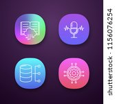 machine learning app icons set. ...