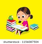 little girl is reading a book.... | Shutterstock .eps vector #1156087504