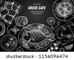 greek cuisine top view frame. a ... | Shutterstock .eps vector #1156096474
