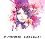 beautiful woman with orchid... | Shutterstock . vector #1156116154