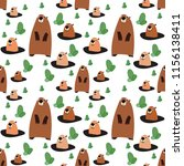 cute cartoon beaver  seamless... | Shutterstock .eps vector #1156138411