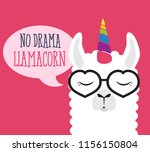 cute fluffy unicorn llama  | Shutterstock .eps vector #1156150804