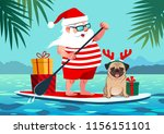 cute santa claus on stand up... | Shutterstock .eps vector #1156151101