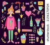 birthday party doodle icons... | Shutterstock .eps vector #1156170934