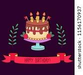 birthday cake greeting card... | Shutterstock .eps vector #1156170937