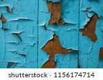 the paint is torn. on a wooden... | Shutterstock . vector #1156174714