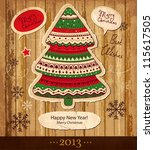 vintage christmas vector card... | Shutterstock .eps vector #115617505