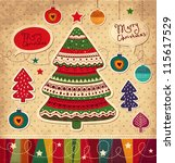 vintage christmas vector card... | Shutterstock .eps vector #115617529