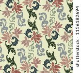 baroque pattern with lilies on... | Shutterstock . vector #1156182694