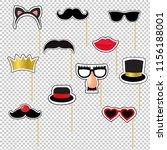 carnival masks set transparent... | Shutterstock .eps vector #1156188001