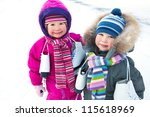 little boy and girl with ... | Shutterstock . vector #115618969