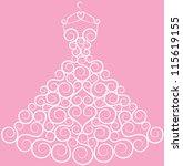 wedding dress on hanger   Shutterstock .eps vector #115619155