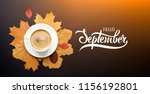 a cup of coffee with cappuccino ...   Shutterstock . vector #1156192801